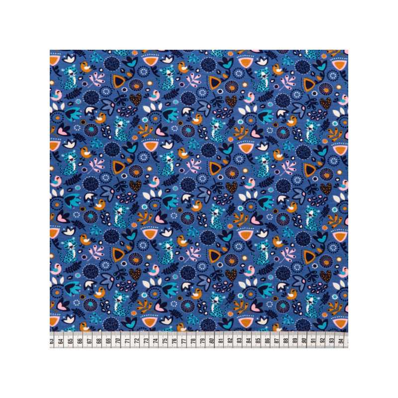 Cotton jersey printed multicolored leaves blue