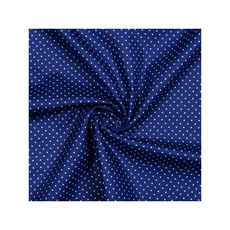Cotton poplin printed little dots royal blue