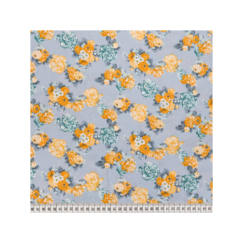 Cotton poplin printed yellow roses on blue