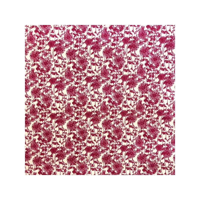Cotton poplin printed delicate red flowers