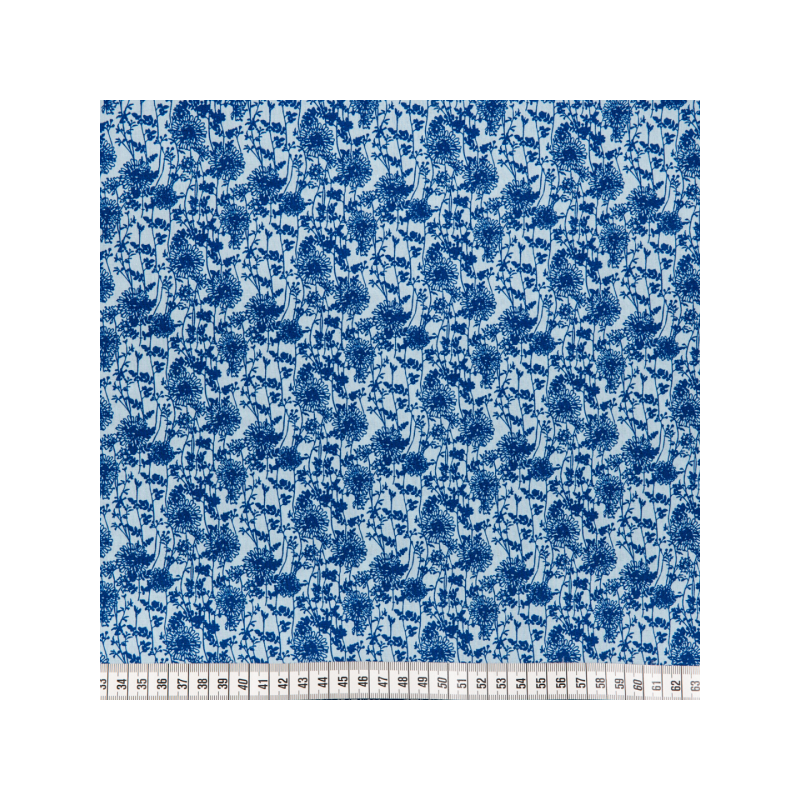 Cotton poplin printed delicate blue flowers