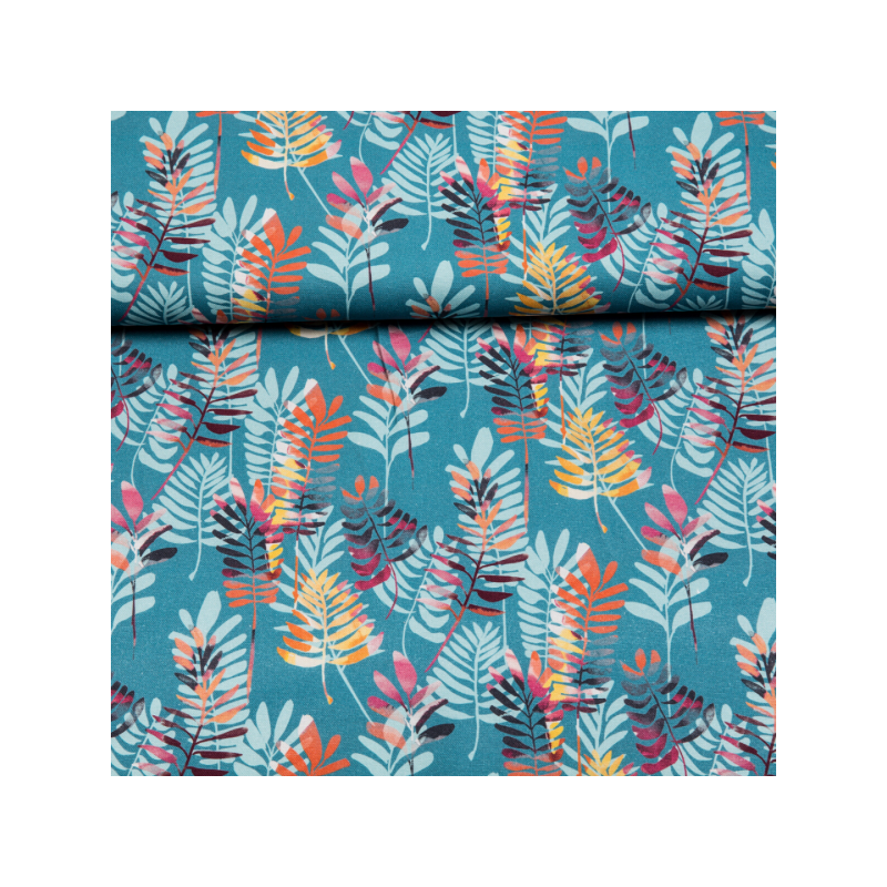 Cotton canvas printed colorful leaves blue