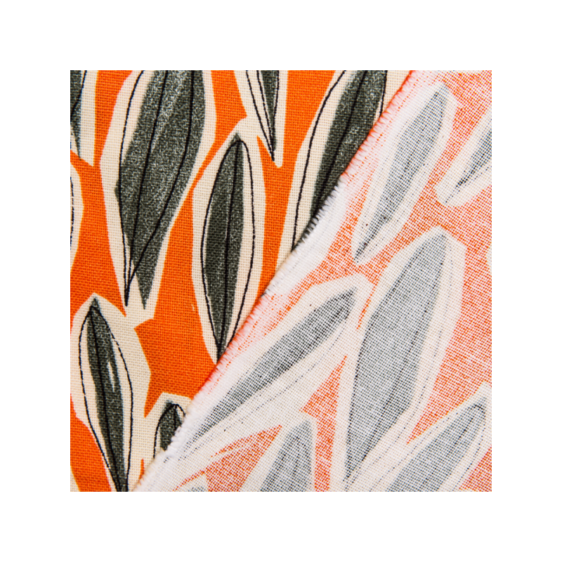 Cotton canvas printed grey leaves orange