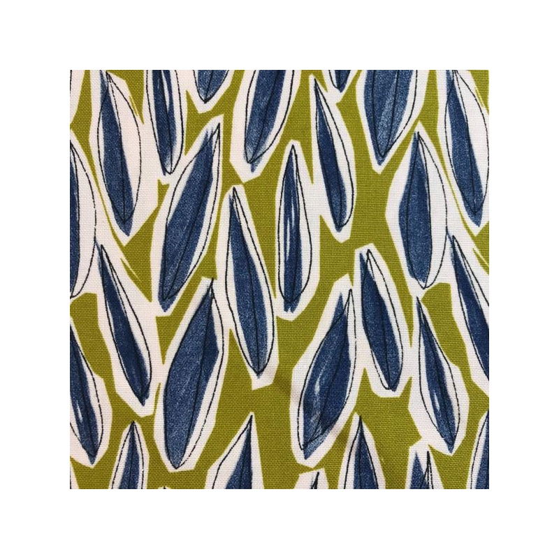 Cotton canvas printed blue leaves mustard