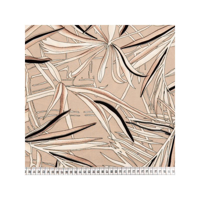 Crepe deluxe printed leaves beige
