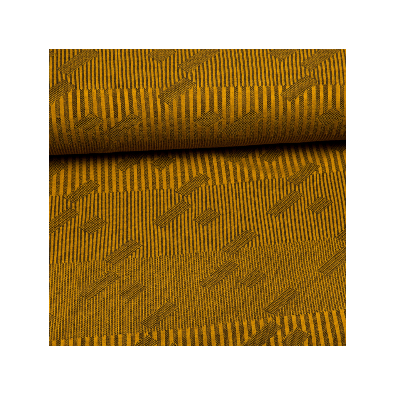 Knitted jacquard stripes mustard