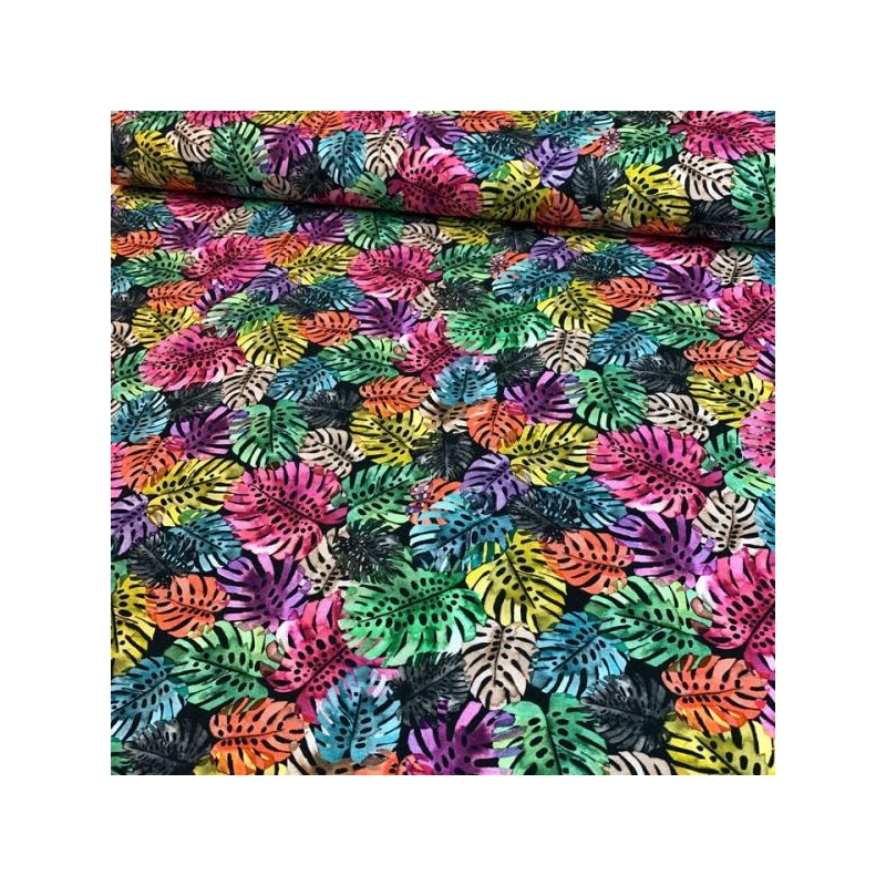 Cotton jersey digiprint monstera leaves multicolored