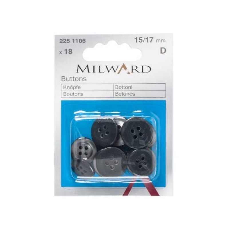 Buttons 15/17mm 18 in pack black