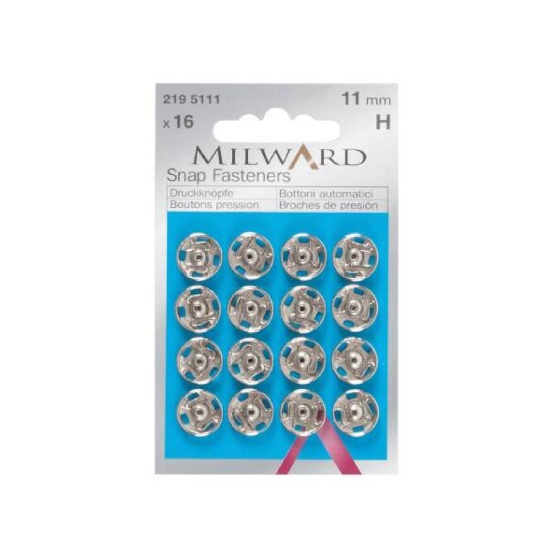 Snap fasteners 11mm 16 in pack