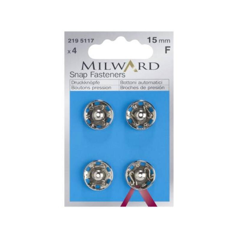 Snap fasteners 15mm 4 in pack