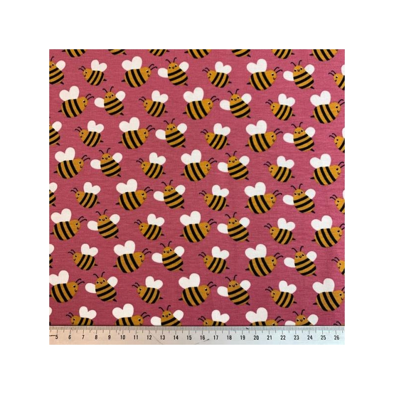 Cotton jersey printed bees pink