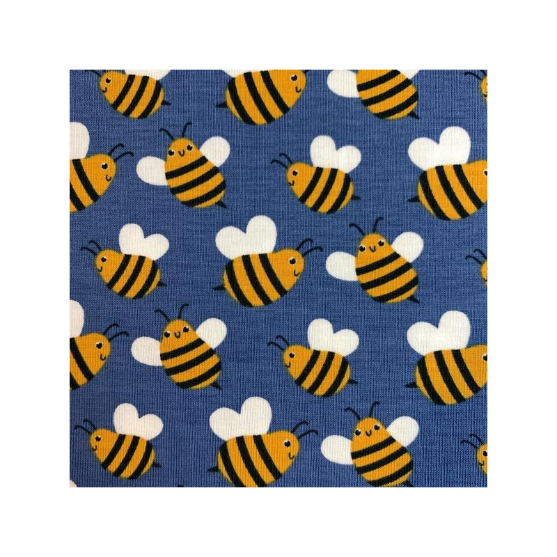 Cotton jersey printed bees blue