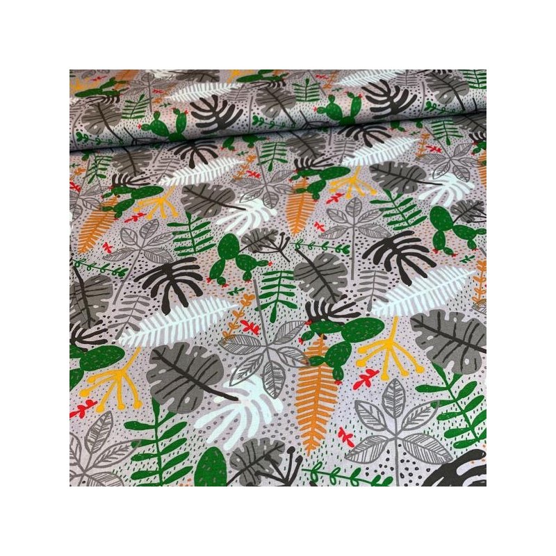 Cotton poplin printed different leaves grey