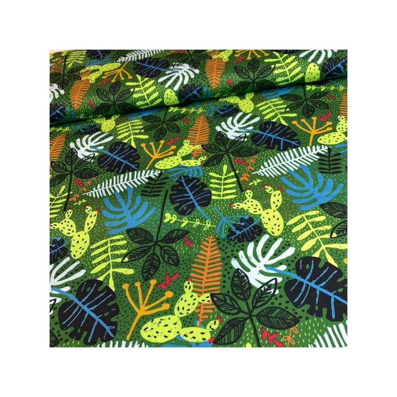 Cotton poplin printed different leaves green