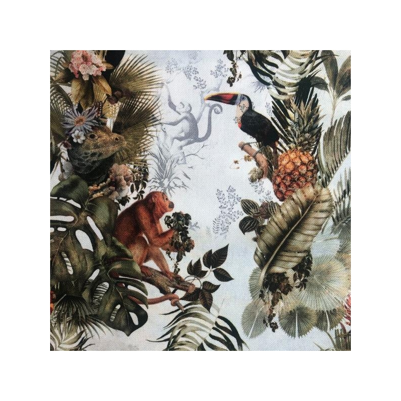 Decorative fabric printed tropical journey multicolored