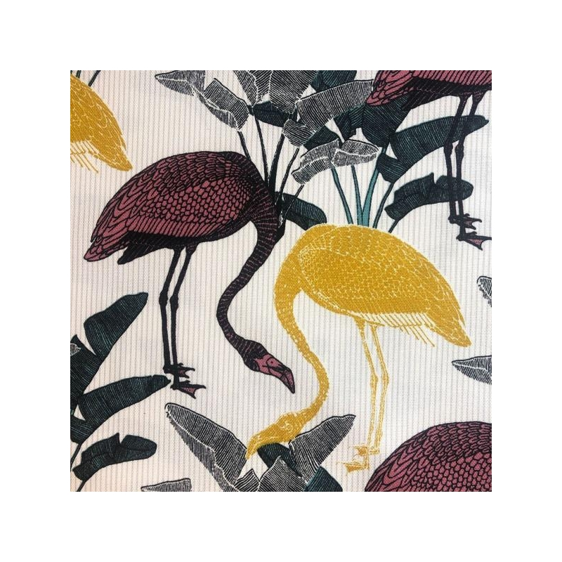 Decorative fabric printed flamingos multicolored