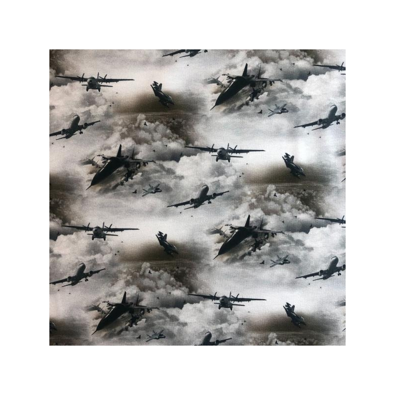 Cotton jersey digital printed planes in the sky multicolored