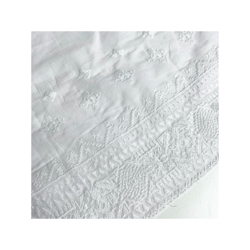 100% cotton embroidered fabric white
