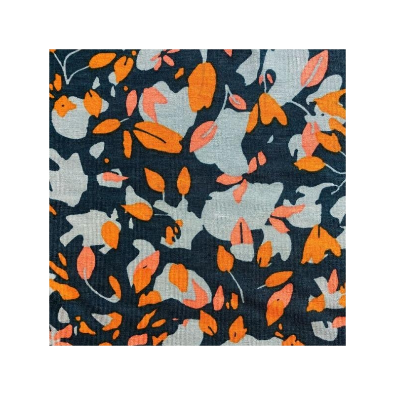 Viscose jersey printed abstract flowers petrol