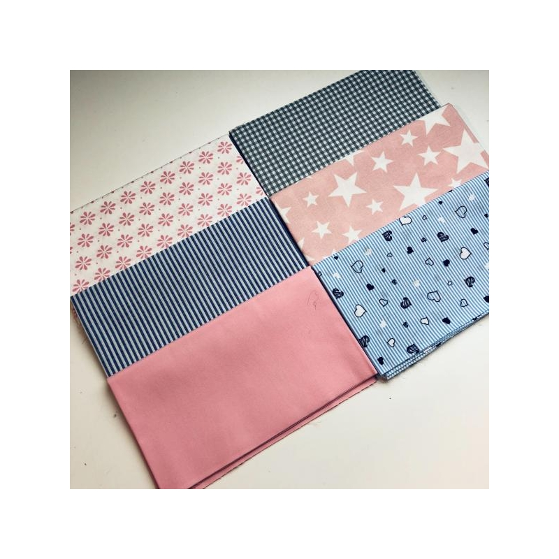 Quilting pack 6x20cm triibud/tähed/roosa
