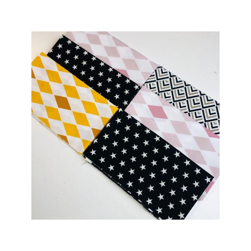 Quilting pack 6x20cm stars/diamonds pink and mustard