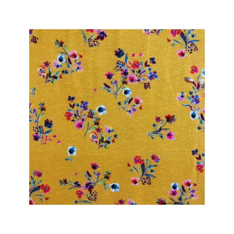 Cotton jersey digital printed bouquets of flowers multicolored