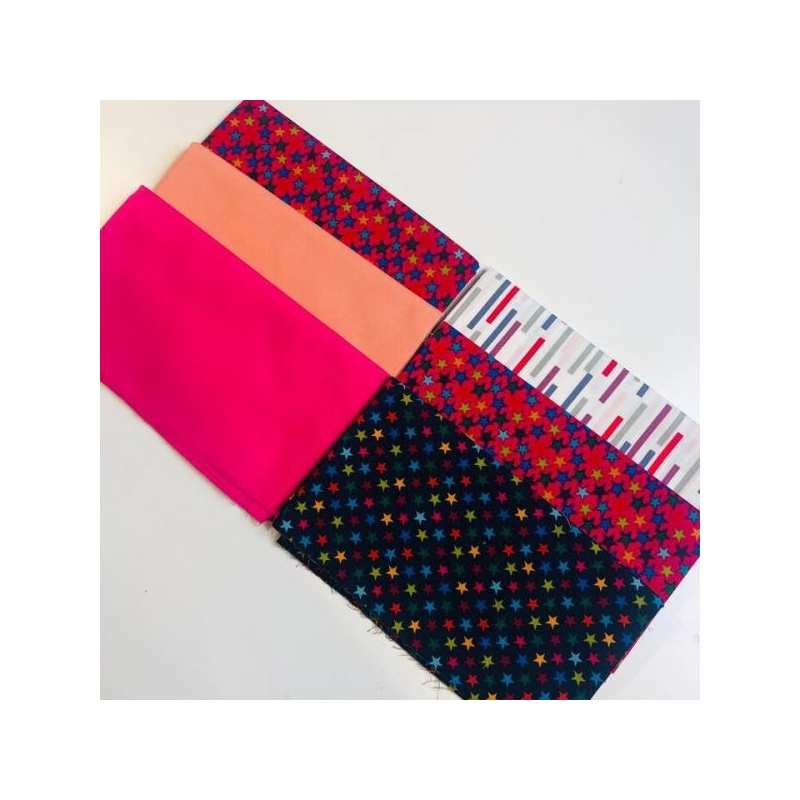 Quilting pack 6x20cm stars multicolored