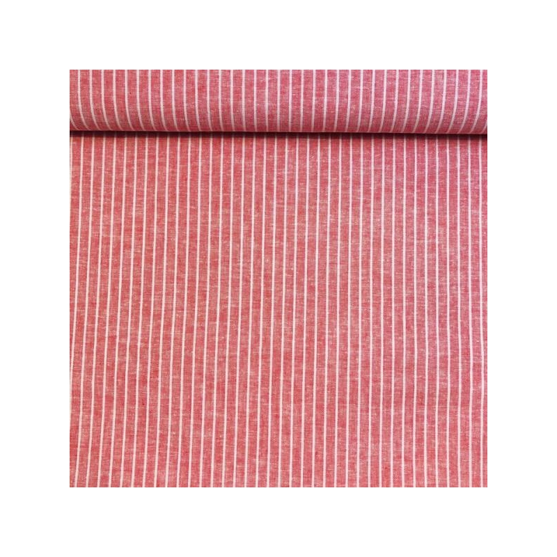Linen cotton big stripes red