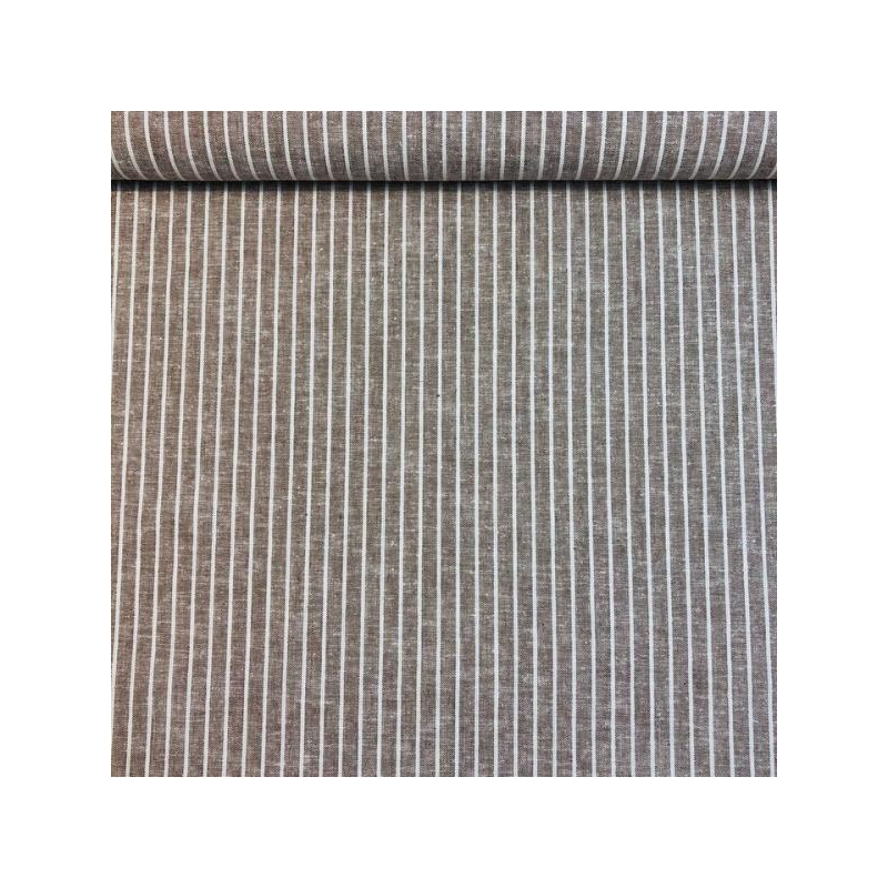Linen cotton big stripes beige