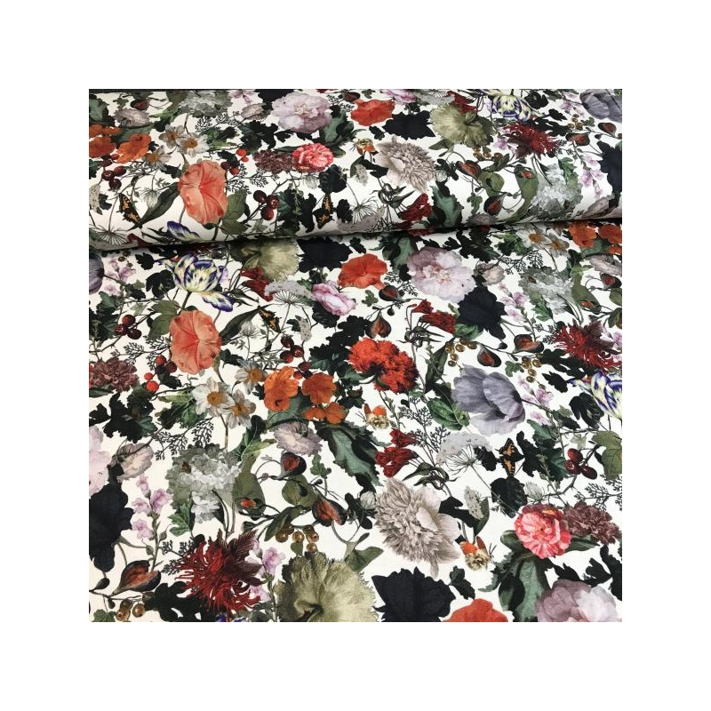 Viscose jersey digital printed berries and flowers on white background