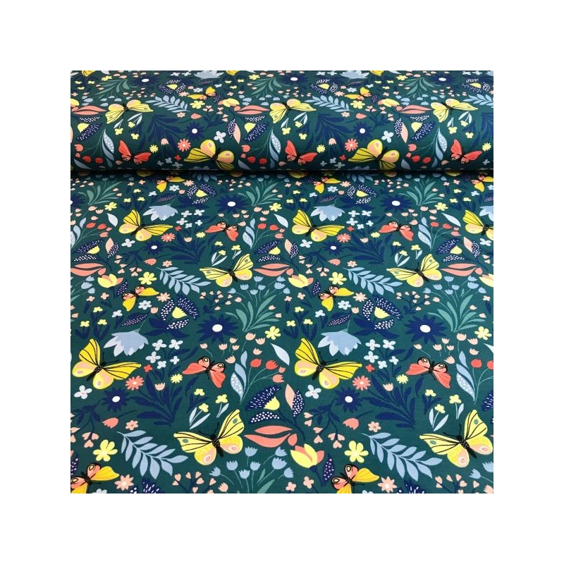 Jogging print  butterfly forest petrol