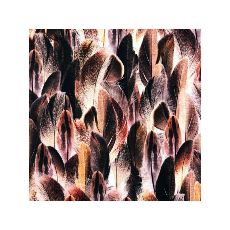 Cotton jesey digital print feathers