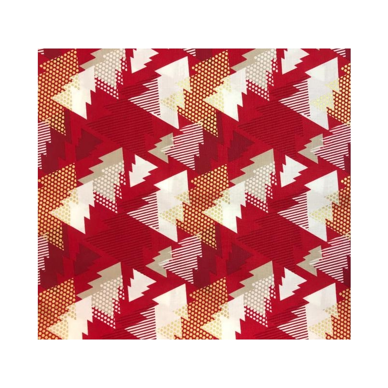 Cotton poplin abstract spruce red