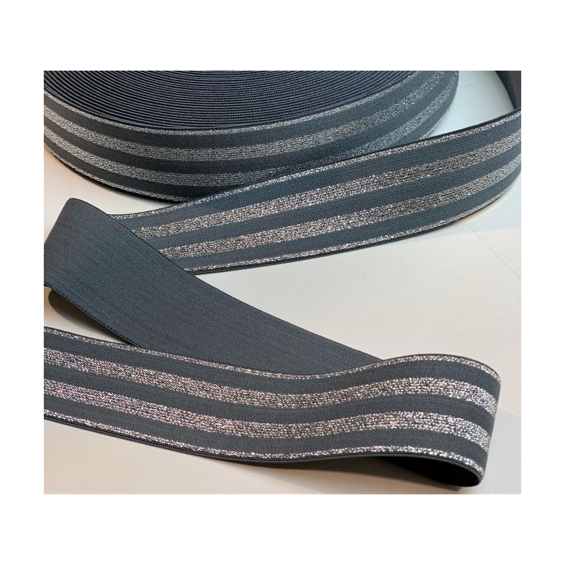 Soft touch elastic grey silver stripes