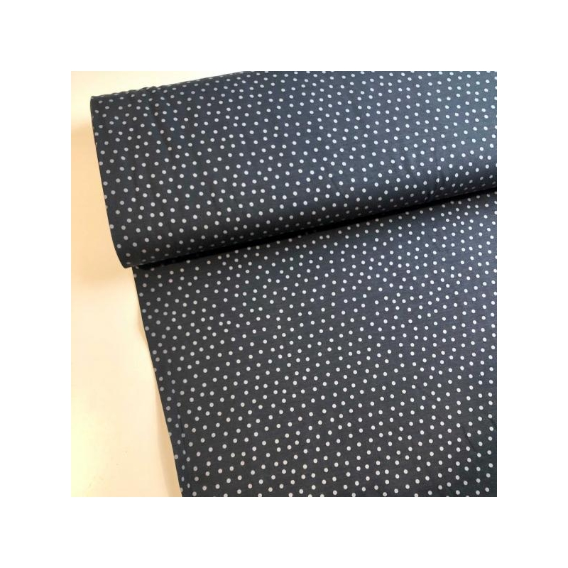 Cotton jersey grey dots dark blue