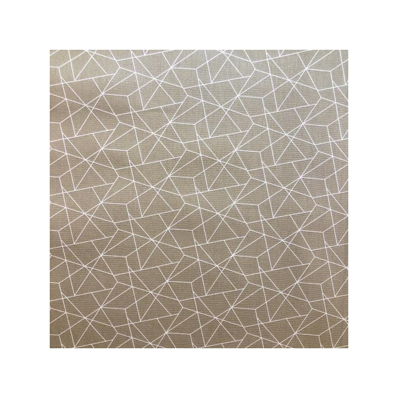 Cotton poplin geo beige