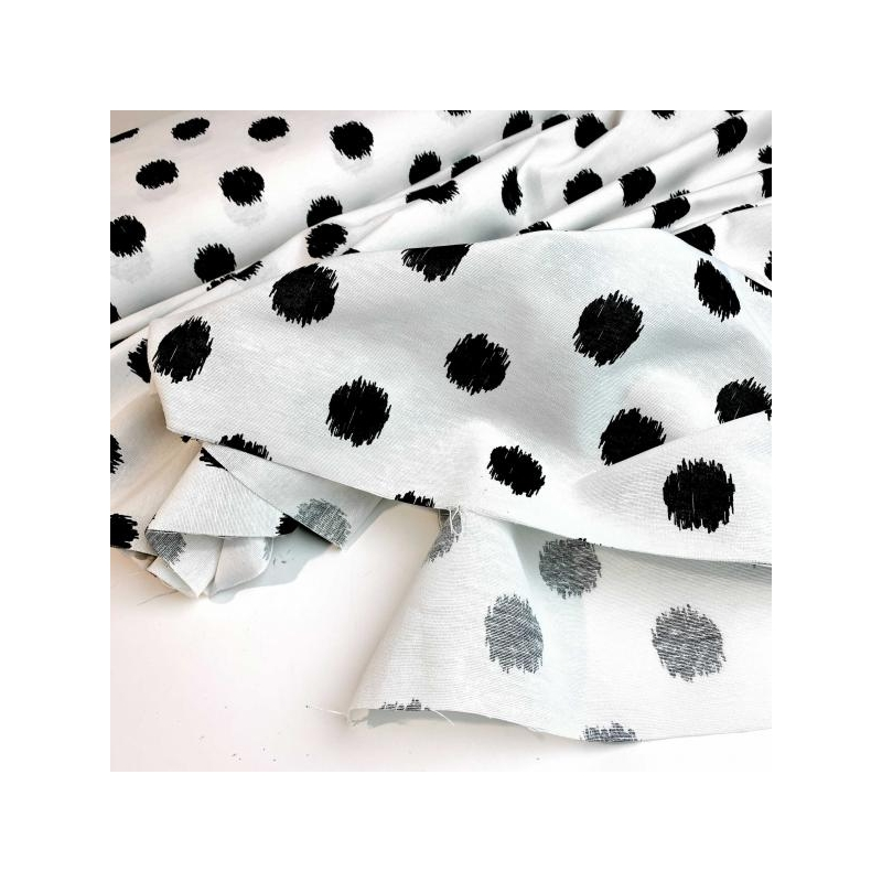 Cotton polyester mix white black dots