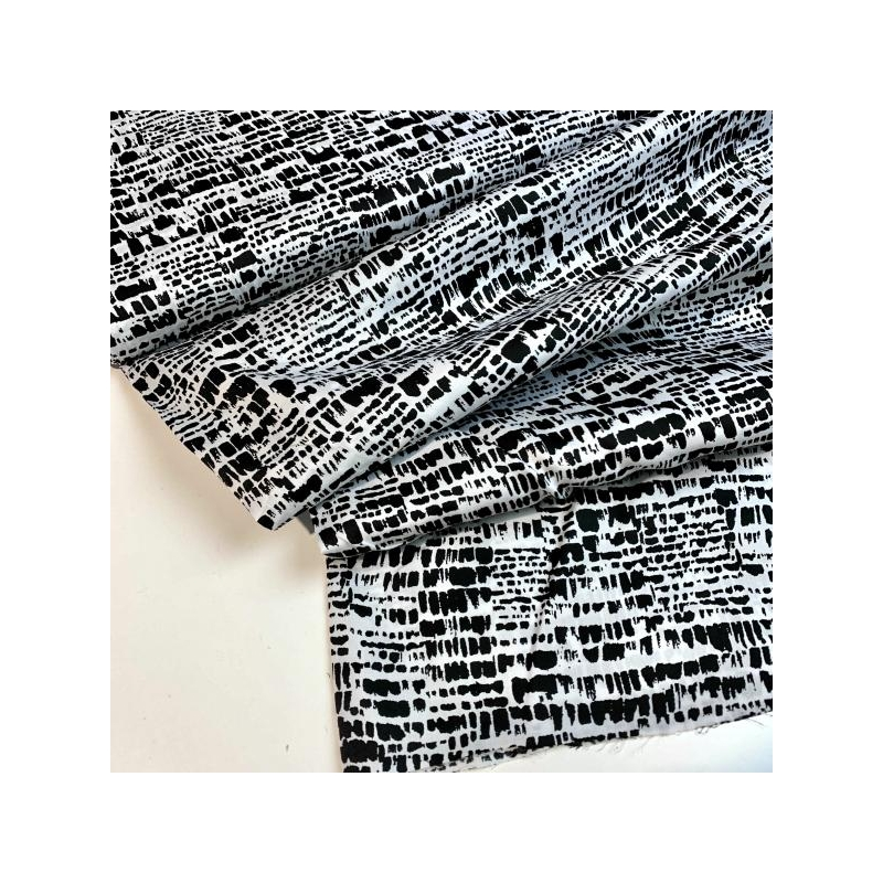 100% cotton poplin satin white black print