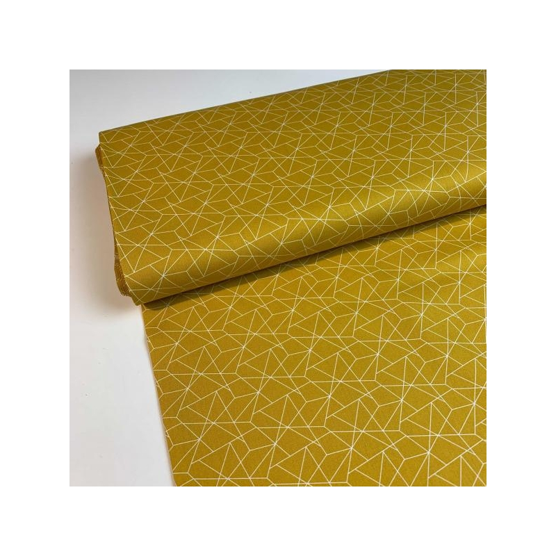 Cotton poplin geo yellow