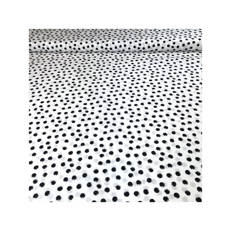 Cotton poplin balck dots white