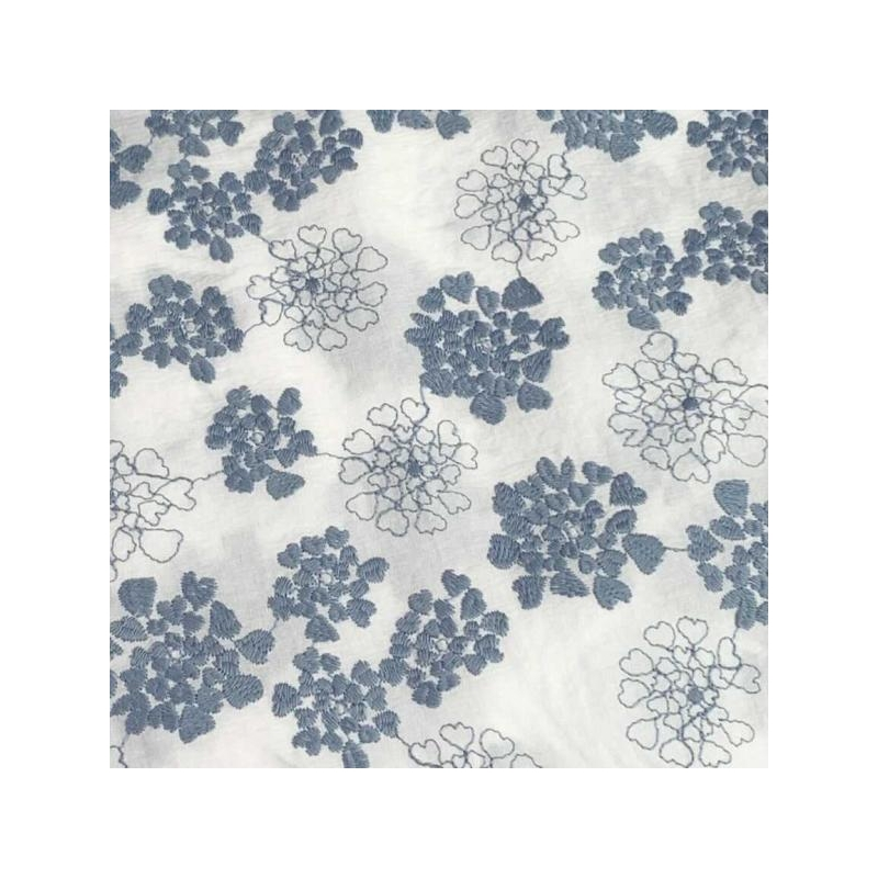 Cotton polyester mix ebroided  heart flowers blue