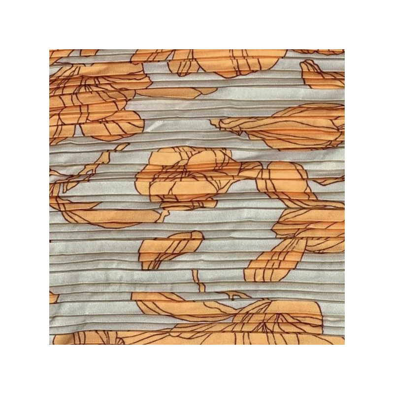 Plisse orange flowers beige