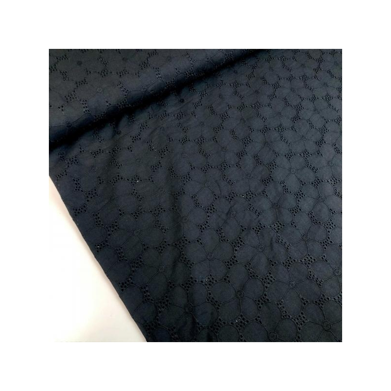 100%  cotton broderie with flowers black
