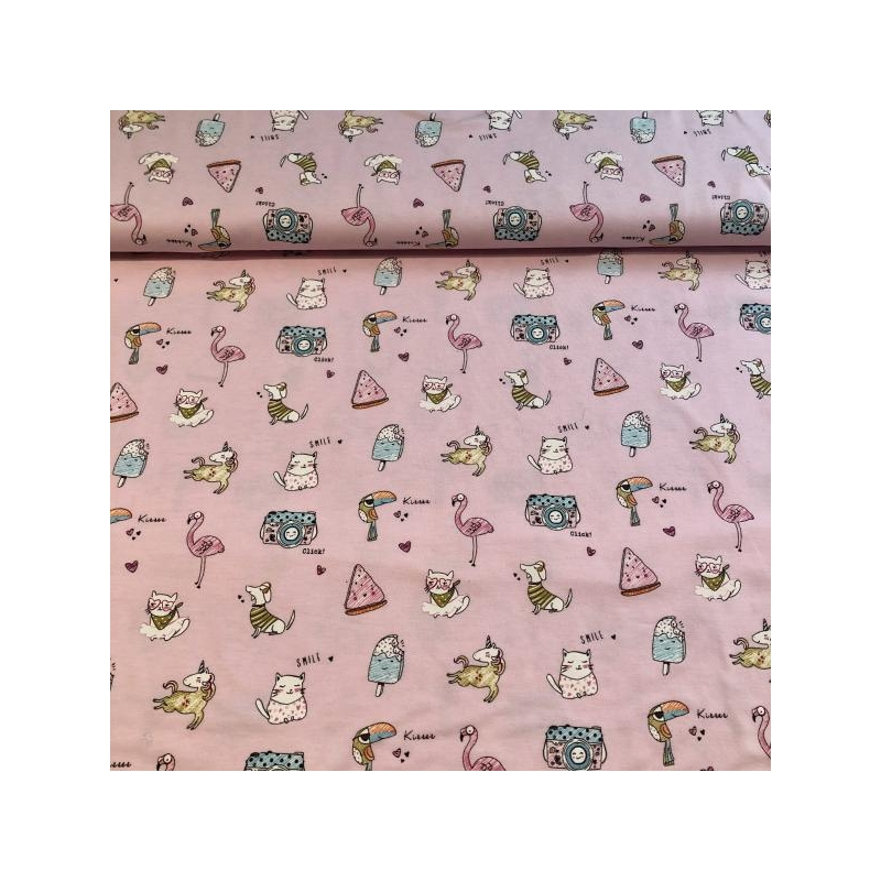 Cotton jersey printed jolly animals in rose multicolored