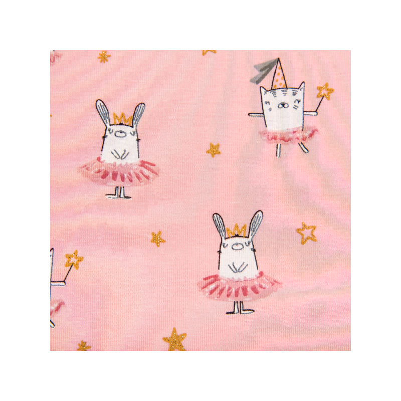 Cotton jersey printed dancing rabbits multicolored