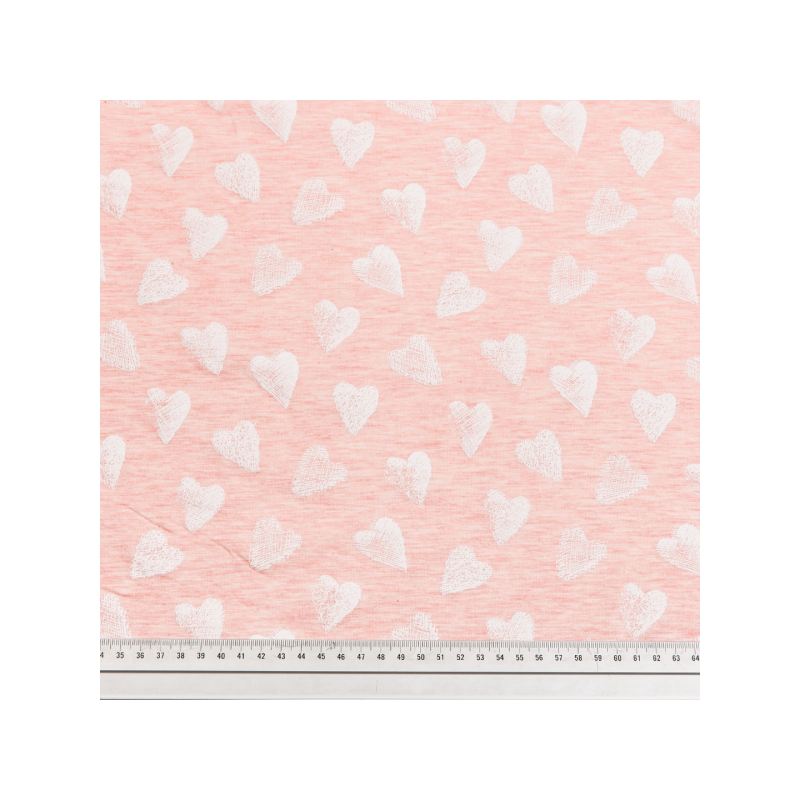 Cotton jersey printed hearts pink