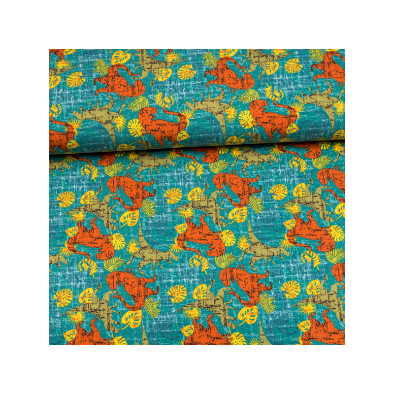 Cotton jersey printed dinosaurs multicolored