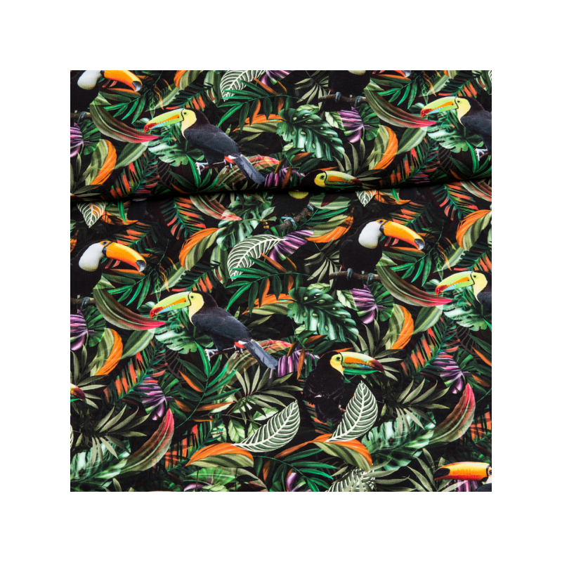 Cotton jersey digital printed tropical leaves multicolored