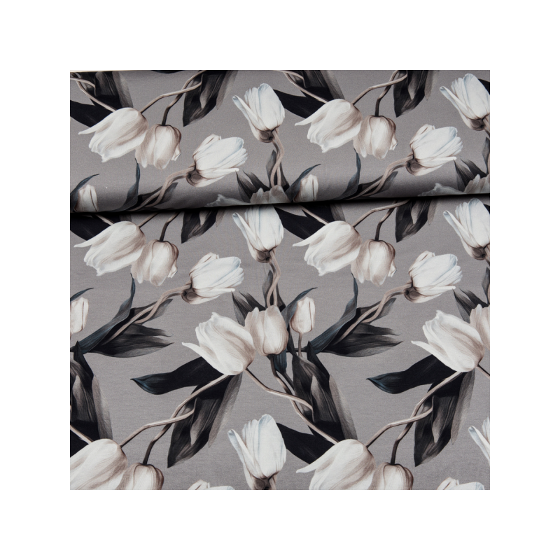Cotton jersey digital printed tulips in grey