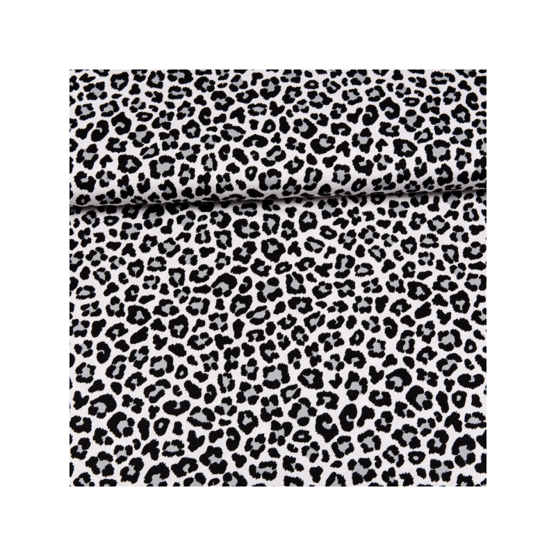 Cotton jersey printed black and white leopard